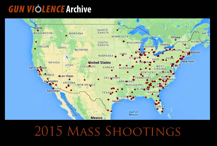 Mass Shootings - Us gun murders map
